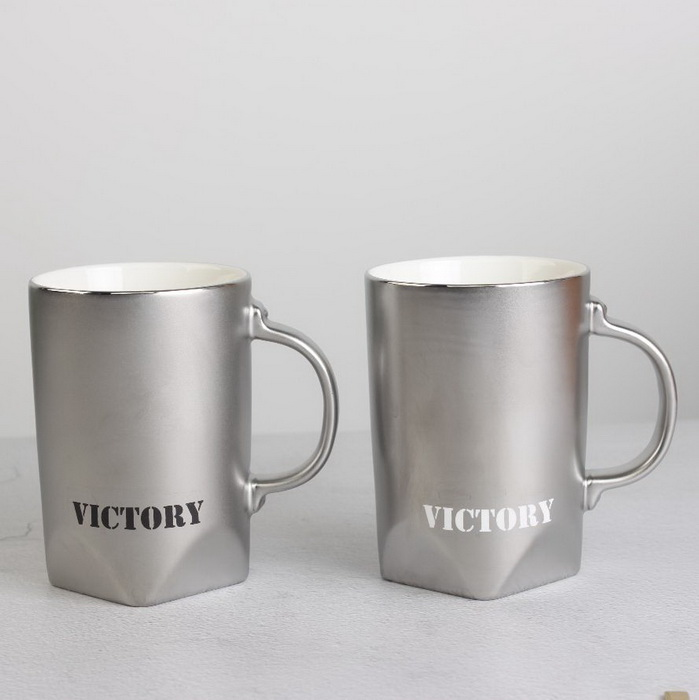Chao Zhou Supplier Large Sliver Couple's Ceramic Mug with Customized Logo