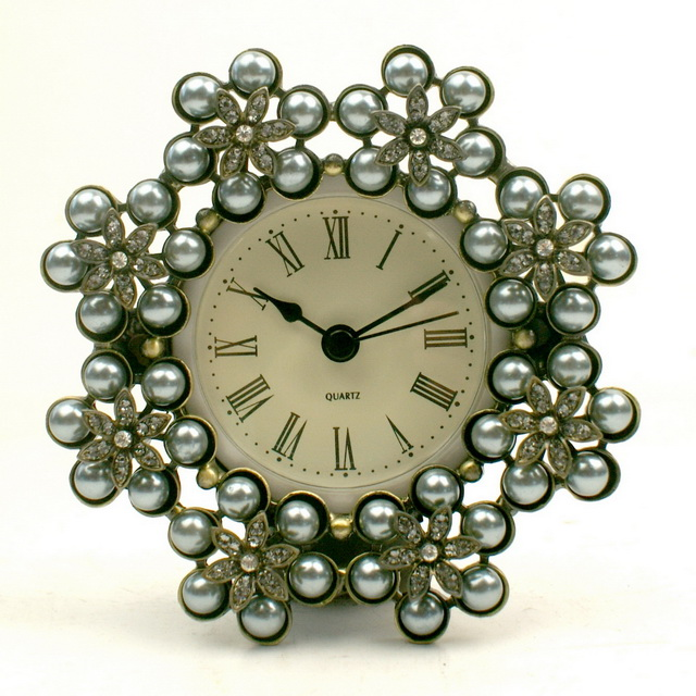 Antique Plated Metal Pewter Jeweled Decorative Crystal Desk Clock