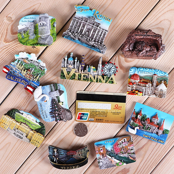 OEM Wholesale 3D Resin Fridge Magnet Tourism City Souvenir Polyresin Refrigerator Magnets