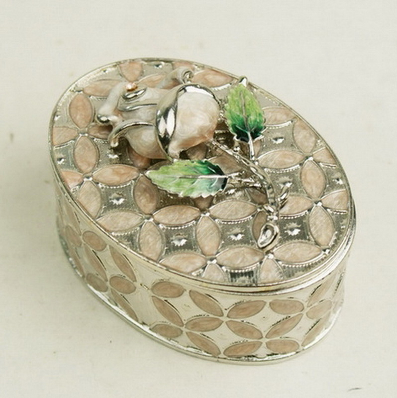 Shiny Silver Crystal Stones Inlaid Jewelry Box