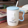 Cute Rabbit Design Pink Ceramic Mug with Stainless Steel Spoon And Lid