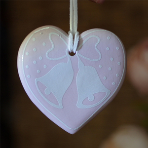 Custom Hanging Decoration Heart Shape Necklace Pendant Sublimation Ceramic Christmas Ornament
