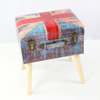 Living Room Modern Fabric Ottoman In European Style Wooden Stool