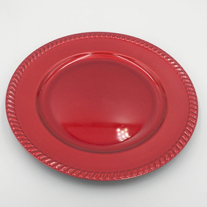OEM Colored Round Plates Melamine Cheap Plastic Plates Red Plate
