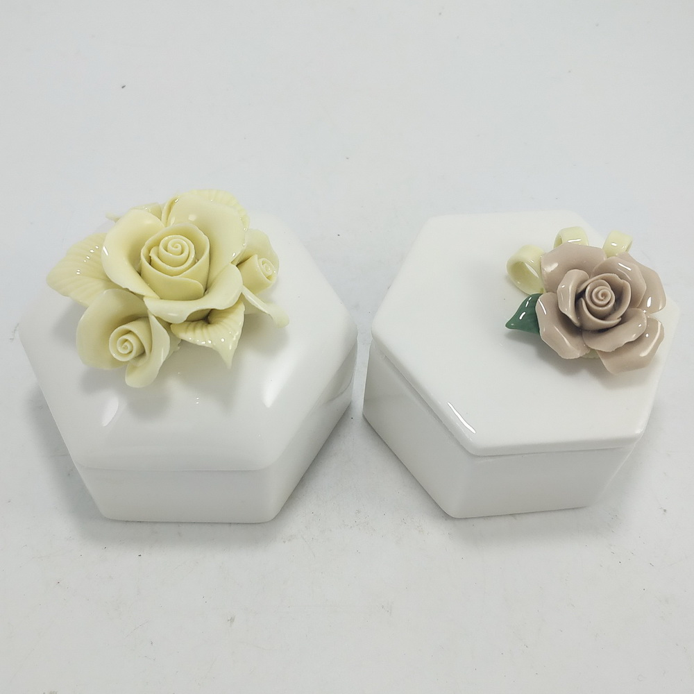 Handmade Cactus Design Ceramic Jewelry Storage Boxes Ceramic Cactus Trinket Box