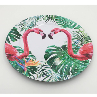 Wholesale Round Dinner Plate Flamingo Design Melamine Plates Plastic