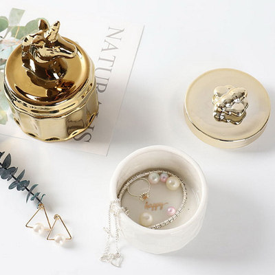 White Glazed Ceramic Jewelry Porcelain Trinket Box with 3D Flower