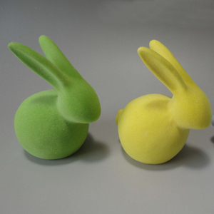 Green Flocking Animal,flocked Animal Figurines,ceramic Rabbit