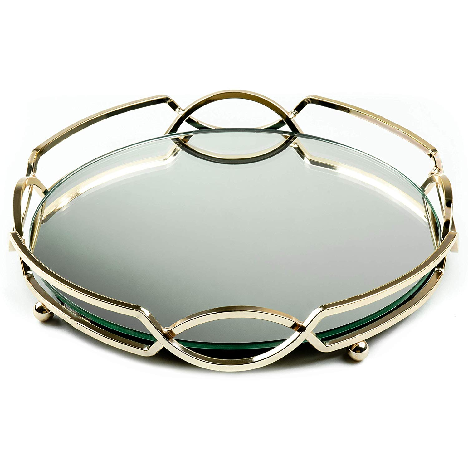 Uxury Round Gold Mirrored Metal Serving Tray
