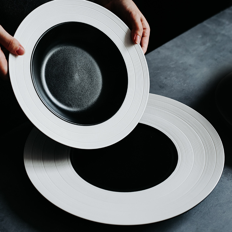 Black And White Double Color Straw Hat Plate Soup Pasta Western Ceramic Tableware Restaurant