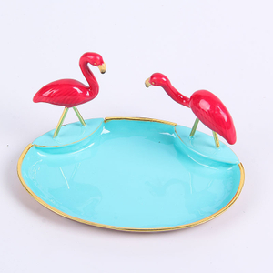 ZINC ALLOY PEWTER FLAMINGO RIND HOLDER DISH