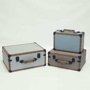 Custom Size Faux Leather Travel Mini Suitcase with Wooden Box for Wholesale