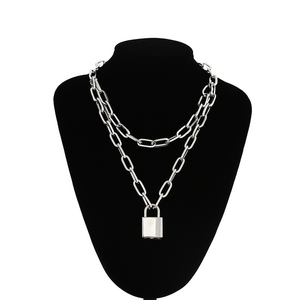 Double Layer Lock Chain Necklace Punk 90s Link Chain Silver Color