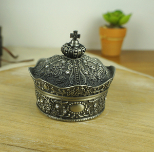 ZINC ALLOY PEWTER CROWN SHAPE RING HOLDER DISH