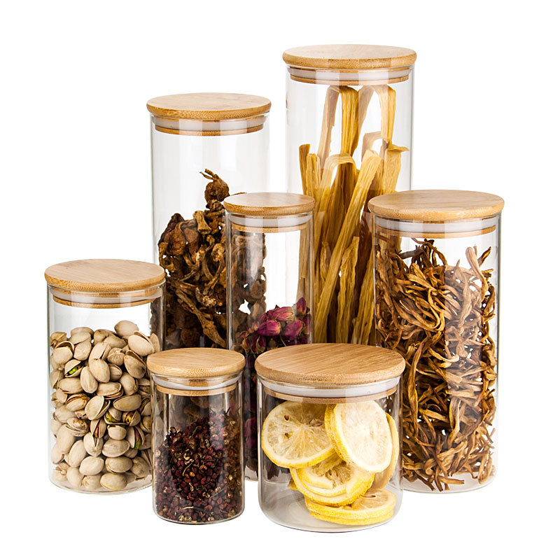 Eco Elegant Decorative Airtight Cylinder Glass Jar with Cork Lid