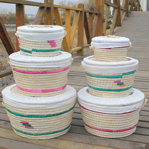 Rattan Weaving Paper Rope Material Woven Natural Storage Baskets