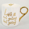 Wholesale Retail Withe Body with Gold Rim And Handle Ocean Sun Beach Decal Ceramic Coffee Mug
