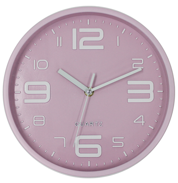 Cute 3D Big Numbers Pink Plastic Wall Clock for Baby Girl