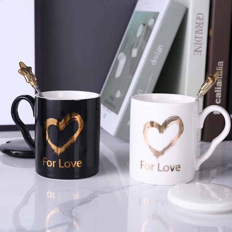 China Manufacture Low Price Wholesale White And Black Couple's Ceramic Mug