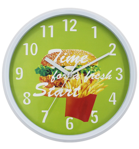 Smart Hamburgers French Fries Design Quartz Wall Clock for Kitchen