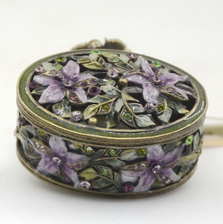 Metal Zinc Alloy Enamel Hollow OutTrinket Box Rose Decoration Jewelry Box