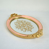 New Design Pink And Gold Polyresin Mirror Tray