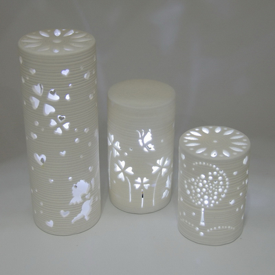 Graceful Custom Pattern Embossed Design Home Decor Ceramic Night Light for Kids