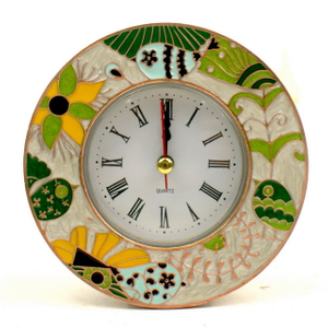 Good Quality Metal Desk Decor Pewter Peacock Promotional Clock