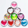 Top Quality And Transparent Crystal Glass Fridge Magnet, Heart Shape Glass Dome Fridge Magnet
