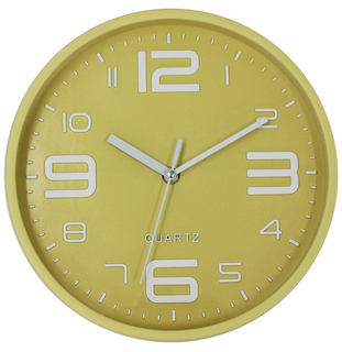 3D Numbers Modern Simple Round Yellow Wall Clock