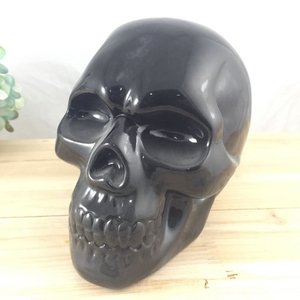 New Handmade Cigarette Butt Snuffer White Ceramic Skull Head