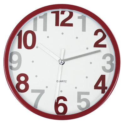 24 Hour Modern Round Wall Clock Home Decoration in Red Color