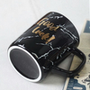 Mr Mrs Gilded Marble Golden Edge Handle Ceramic Mug 2 Piece in 1 Set with Fancy Black Giftbox Blue Inner