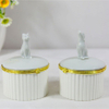 Empty Ceramic Box Diamond Jewelry Box Porcelain Round Dish