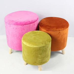 Round velvet storage ottoman stool with 4 wooden legs in kd