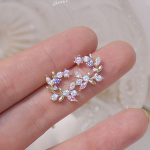 S925 Silver Needle Exquisite Flower Butterfly Women Earrings Bling Shining AAA Zircon CZ Stud Earring Wedding Jewelry Pendant