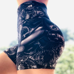 New Leggings High Waist Push Up Yoga Shorts Scrunch Butt Seamless Print Running Shorts Gym Clothes Fitness Elastic Shorts