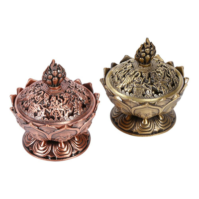 2 Colors Holy Lotus Flower Incense Burner Buddhism Incense Burner Zinc Alloy Bronze Mini Incense Metal Craft Home Decoration