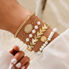 Punk Gothic Imitation Pearls Lock Bracelets Female Knot Flower Bracelet Bangles for Women 2020 Fashion Gold Coin Jewelry