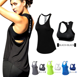 15% spandex Fitness Sports Yoga Shirt Quickly Dry Sleeveless Running Vest Workout Crop Top Female T-shirt