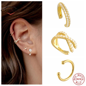 925 Sterling Silver Ear Cuff For Women 1 Pcs Charming Zircon Clip On Earrings Gold Earcuff Without Piercing Earrings Jewelry