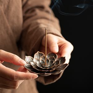 Alloy Incense Burner Stick Holder Buddhism Lotus Line Incense Plate Sandalwood Coil Base Temples Yoga Studios Home Decoration