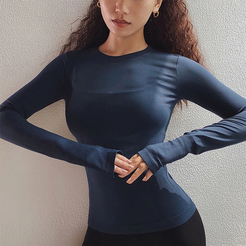 Sexy Women Solid Printing Sport Shirts Solid Color High Elastic Gym Yoga Top Running Breathable Long sleeve T-Shirts