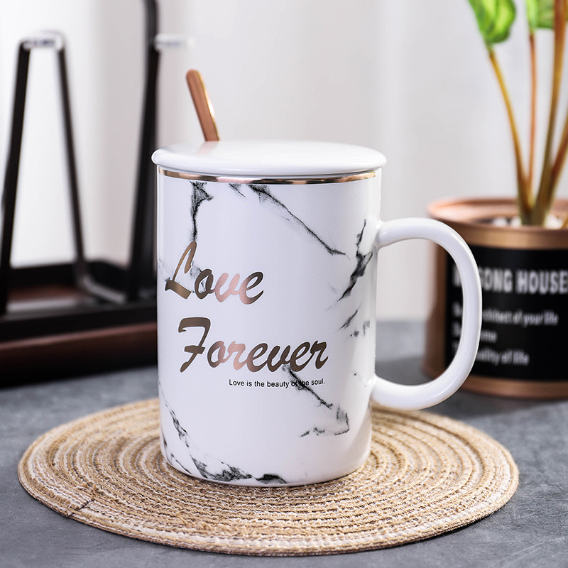 Custom Personalized Classic Black White Ceramic Mug Gold-plated Cup Reusable Coffee Mug with Lid Spoon