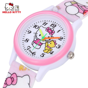 Hello Kitty Kids Watches Girls Children Pink Dress Wrist Watch Cute Child Cartoon Silicone Baby Clock