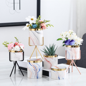 Modern Ceramic Desktop Planter Succulent Flower Pot with Metal Stand Home Decoration
