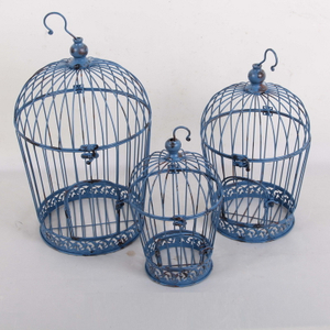 Antique French Small Garden Decor Metal Bird Cage