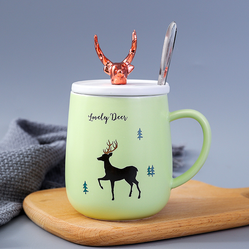 Frosted Gold Ceramic Creative Cover with Spoon Mugs