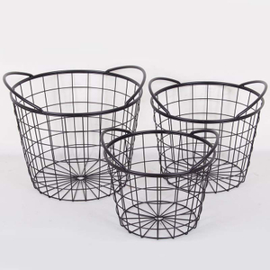 Houseware Decorative Round Large Wire Metal Laundry Storage Basket