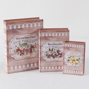 Vintage Decorative Canvas Printing Wooden Book Box of S/3